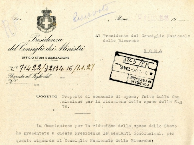 Documenti di una spending review del 1945